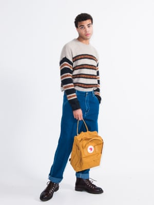 model wears jumper, £345, by Isabel Marant, from matchesfashion.com. Backpack, £80, by Fjallraven Kanken, from urbanoutfitters.com. Jeans, £85, carhartt-wip.com. Boots, £265, grenson.com.