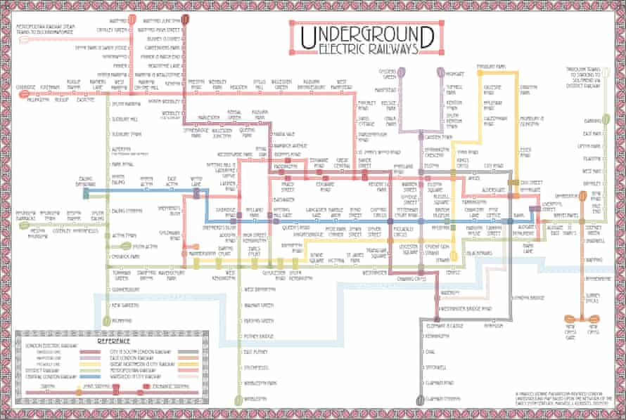 London with an art nouveau twist. A map produced in the style of Glaswegian architect and designer, Charles Rennie Mackintosh. The map displays the Underground network as it would have been at the time of his death in 1928.