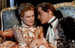 Glenn Close and John Malkovich in Dangerous Liaisons, released two years after Hampton's Les Liaisons Dangereuses reached the West End.