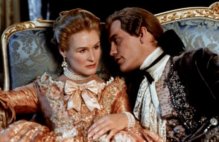 Glenn Close and John Malkovich in the 1988 film Dangerous Liaisons: Hampton wrote the screenplay.