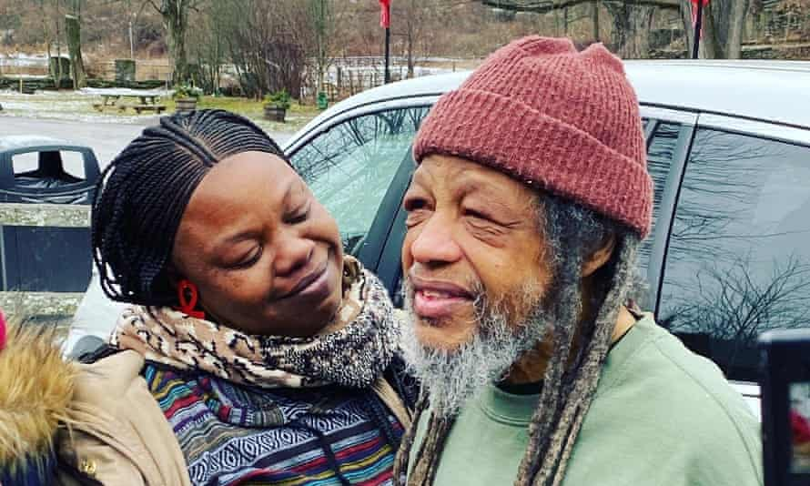 Delbert Orr Africa with his daughter after his release from prison. Only one of the nine, Chuck Africa, remains behind bars.
