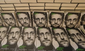 Copies of Permanent Record for sale on the sidelines of a video conference he addressed in Berlin.