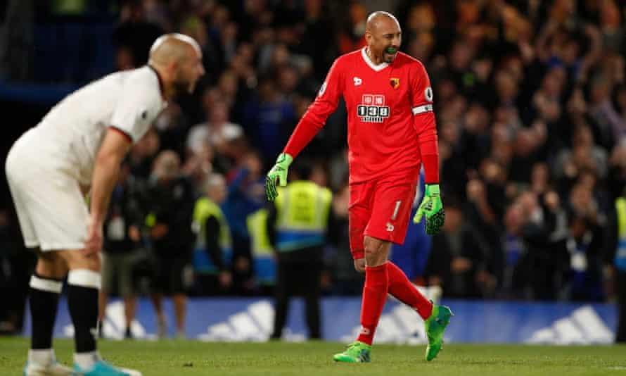 Watford goalkeeper Heurelho Gomes reacts after Cesc Fàbregas denied the Hornets a point at Stamford Bridge.