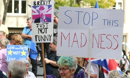 Anti-Brexit protestors outside the Luxembourg Prime Minister's offices during a visit by British Prime Minister Boris Johnson