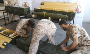 Fighters loyal to the Libyan Government of National Accord displaying Chinese-made shells bearing the markings of the United Arab Emirates