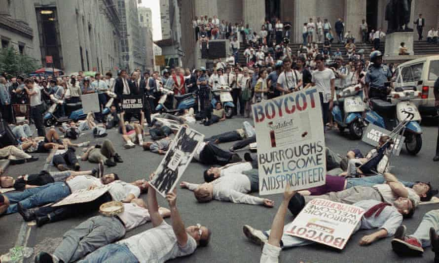 An ACT UP protest in front of the New York Stock Exchange, September 1989.
