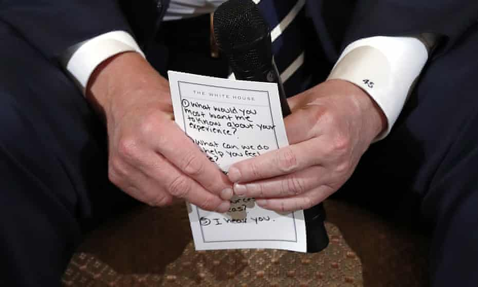 Donald Trump with notes during a listening session with high school students and teachers at the White House on Wednesday.