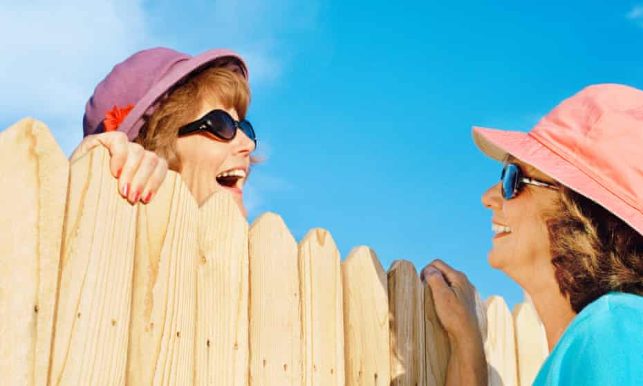 Modelled picture of women talking over a fence