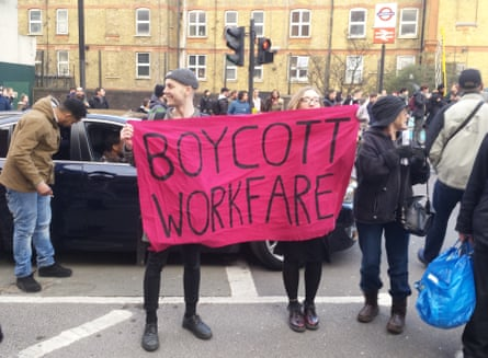 Boycott Workfare activists block traffic