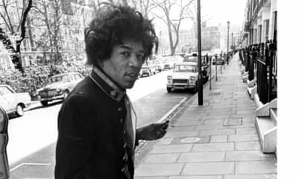 Jimi Hendrix in Montagu Place, London, in 1967
