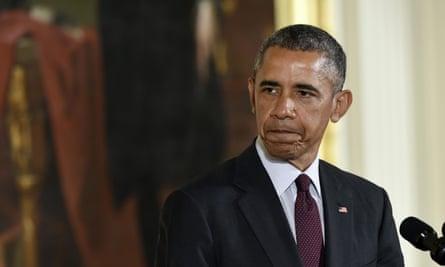 President Barack Obama  speaks in the East Room of the White House.