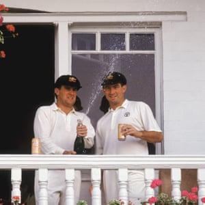 Australian cricketers Mark Taylor and Geoff Marsh