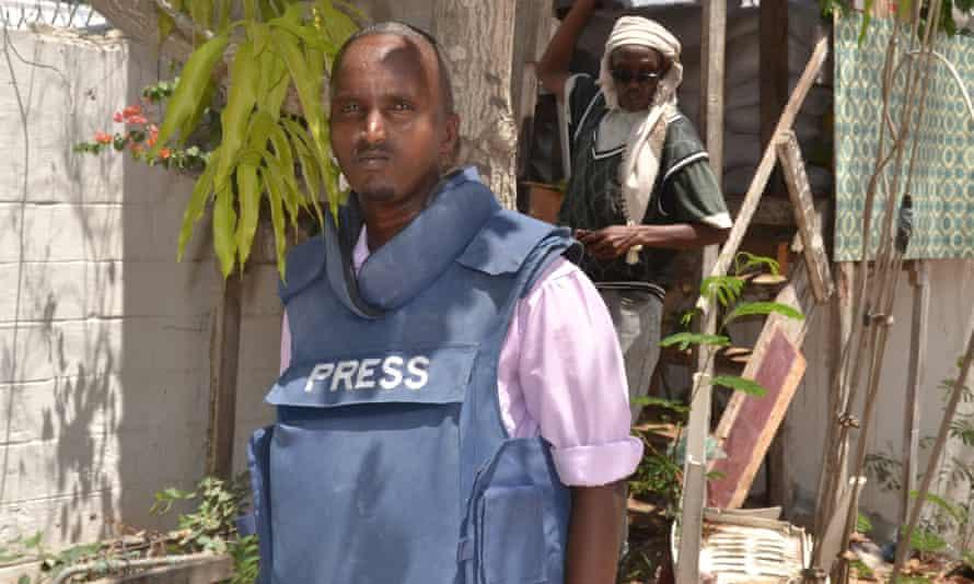 Abdiaziz Mohamed Ali Haji in 2014 in the Radio Shabelle compound in Mogadishu, Somalia.