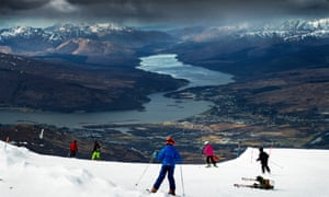 Skiers at Nevis Range resort