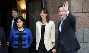 Sayeeda Warsi with Samantha and David Cameron