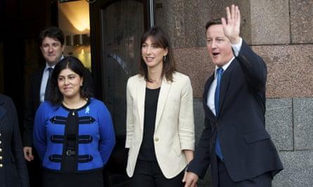 Sayeeda Warsi with Samantha and David Cameron