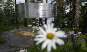 The memorial, a steel circle bearing the names of the 69 victims, on the island