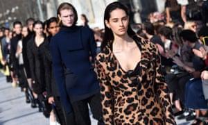 Models present creations during Lee's first Bottega Veneta catwalk show in Milan in February 2019.