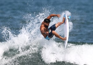 Tokyo, Japan. Italo Ferreira of Team Brazil surfs during a practice session at Tsurigaskai beach ahead of the Tokyo 2020 Olympic Games