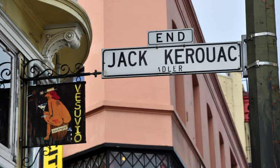 A street sign for Jack Kerouac Alley, one of the San Francisco streets renamed by Lawrence Ferlinghetti, running between the City Lights Bookstore and the Vesuvio Bar, both popular with the Beat poets.