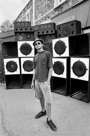 Speaker stack, St Paul's Carnival, outside the Crystal Dove nightclub, July 1991