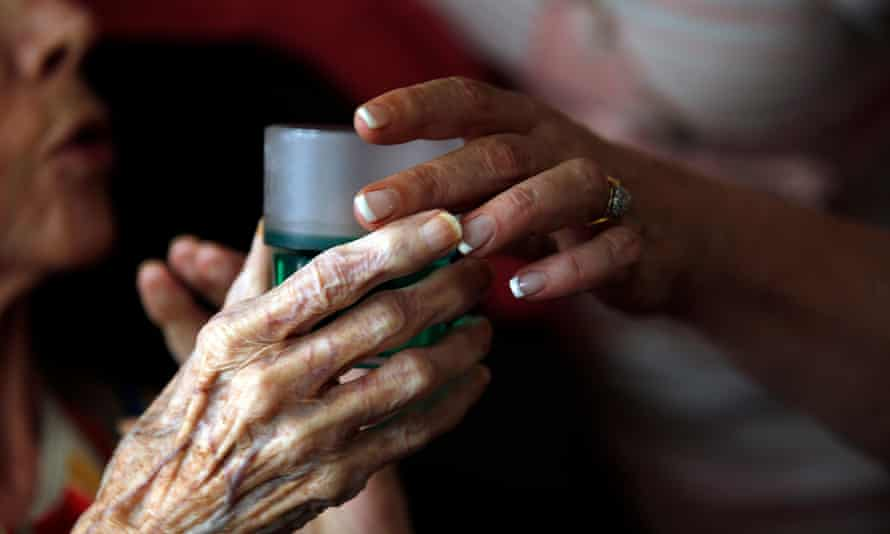Old woman given medicine in care home