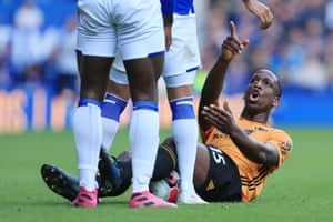 Wolverhampton Wanderers' Willy Boly points an accusing finger during the Premier League match against Everton.