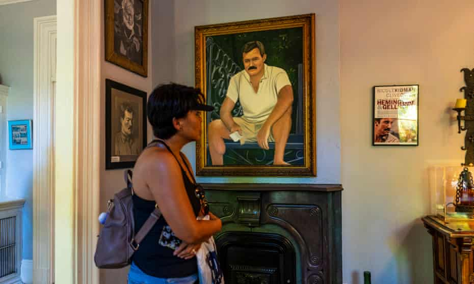 A portrait of Ernest Hemingway seen inside the Hemingway Home and Museum located in Key West, Florida
