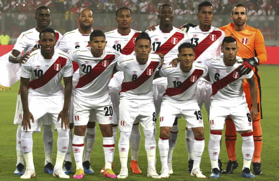 Peru line up before the recent friendly against Scotland in Lima.