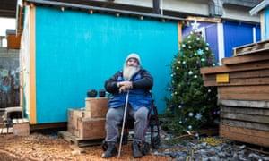 Joseph 'Panda' Procella, 55, at Tent City 5 tiny houses in Seattle.