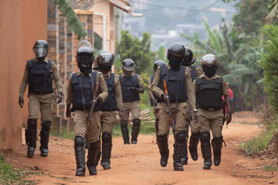 Security forces block the entrance to Robert Kyagulanyi's property in Kampala in January.