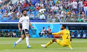Mohamed Salah scores for Egypt against Saudi Arabia at the World Cup in Russia