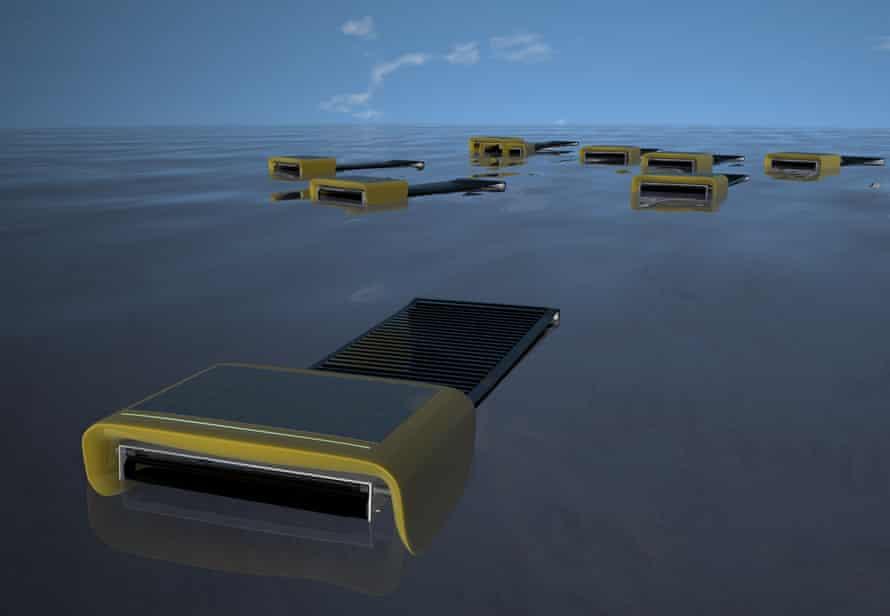 Sea Swarm, kendini ilerletmek ve petrol toplamak için ince bir nanotel ağdan yapılmış fotovoltaik güçle çalışan bir konveyör bandı kullanıyor.