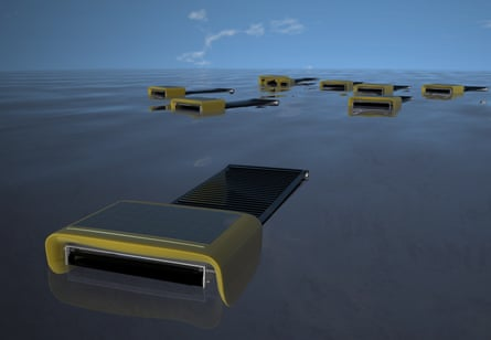 Sea Swarm uses a photovoltaic powered conveyor belt made of a thin nanowire mesh to propel itself and collect oil.