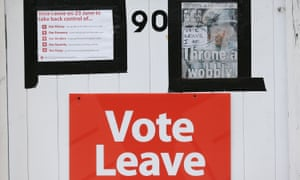 A Vote Leave poster on a door in Redcar