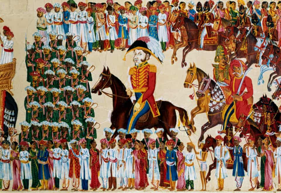 An English grandee of the East India Company depicted riding in an Indian procession, 1825-1830.