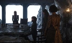 Emilia Clarke as Daenerys Targaryen, Peter Dinklage as Tyrion Lannister, Gemma Whelan as Yara Greyjoy, and Indira Varma as Ellaria Sand