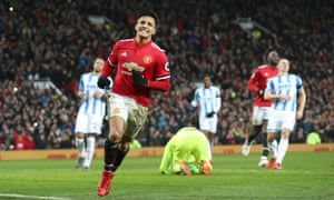 Alexis Sánchez celebrates doubling Manchester United's lead at Old Trafford.