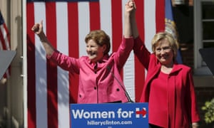 Hillary Clinton stands with senator Jeanne Shaheen after the fellow Democrat endorsed Clinton at a campaign rally in Portsmouth, New Hampshire, on Saturday.
