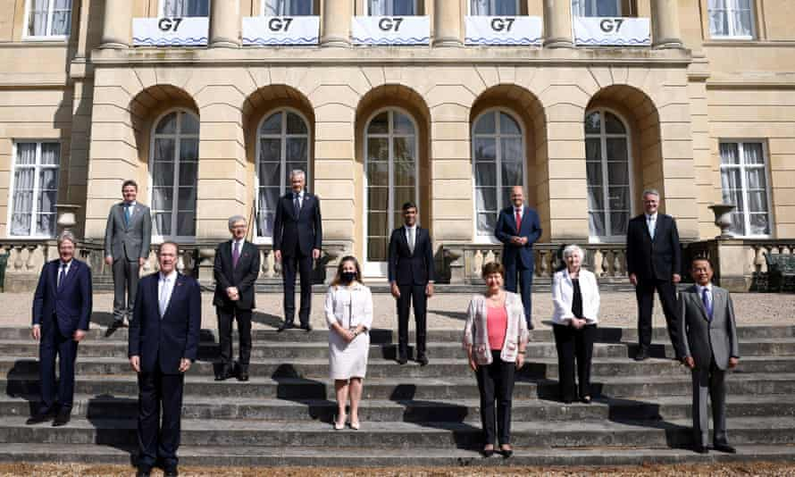 Representatives for the G7 finance ministers' meeting, including the UK chancellor, Rishi Sunak, at Lancaster House, London.