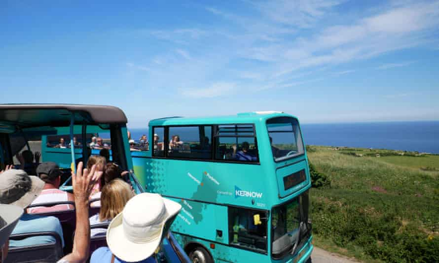 Atlantic Coaster open-top buses between Land's End and St Ives.