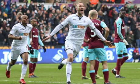 Swansea leap out of the relegation zone by thrashing feeble West Ham
