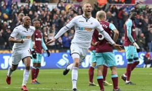 Mike van der Hoorn celebrates after scoring the second goal for Swansea against West Ham United.