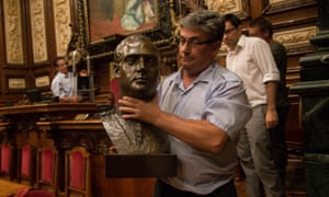 Barcelona city council removes the bust of the former Spanish king Juan Carlos, who abdicated last year.