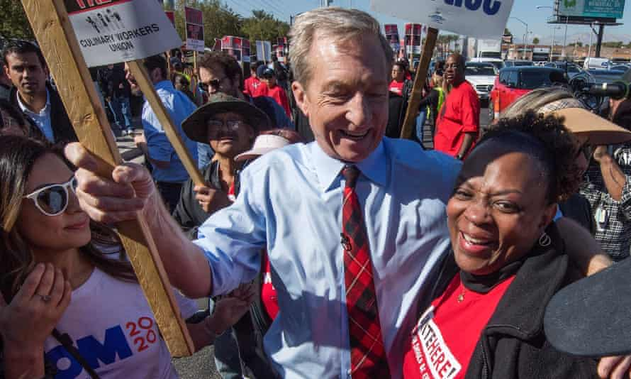Democratic presidential hopeful billionaire Tom Steyer, joins members of Culinary Workers Union who are picketing outside The Palms Casino in Las Vegas, Nevada, on 19 February.