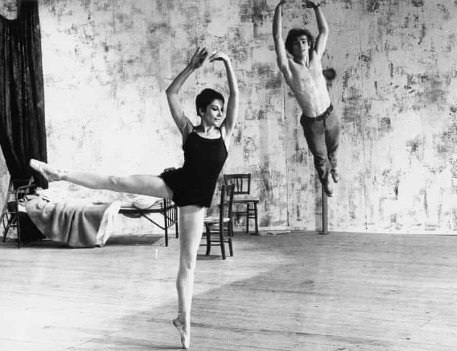 Zizi Jeanmarie and Rudolf Nureyev rehearsing for a production of Roland Petit's ballet Le Jeune Homme et la Mort, 1966.