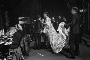 Andrew Scott and Ella Balinska backstage