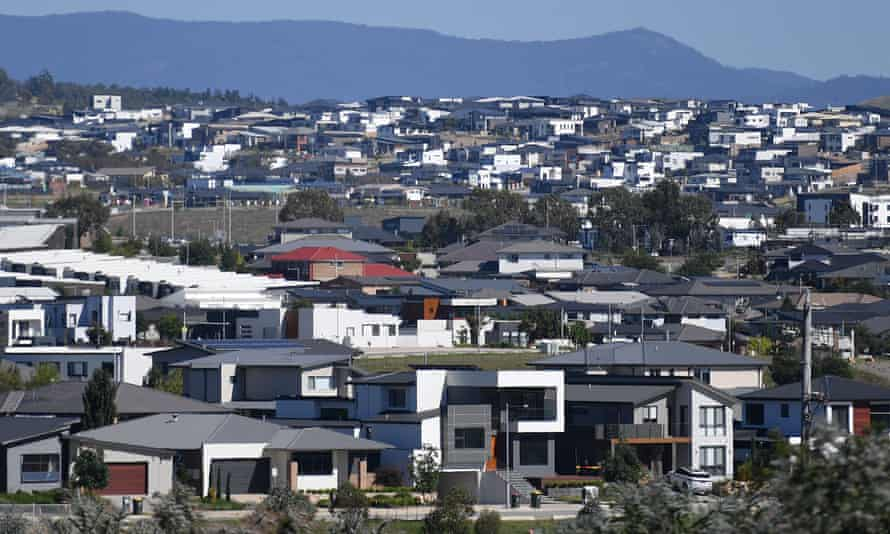 New home buildings in the Canberra suburb of Wright