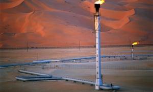 An oil field in Shaybah, Saudi Arabia
