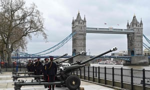 Guns are put into position by the Honourable Artillery Company at the The Tower of London, in London.